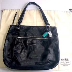 COACH Black Leather Tote Bag